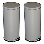 Harbour Housewares Freestanding Kitchen Pedal Bin - 30 Litres - Grey - Pack of 2