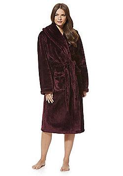 F&F Plush Fleece Dressing Gown - Burgundy