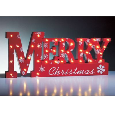 Sentik 37 Warm White LED Merry Christmas Xmas Sign Table Top Lamp Window Light
