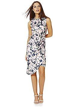 Mela London Floral Print Wrap Style Dress - Pink