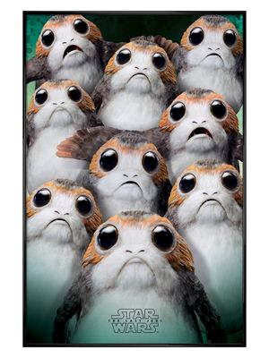Star Wars The Last Jedi Many Porgs Gloss Black Framed Poster 61 x 91.5cm