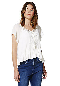 Only Lace Panel Crinkle Top - White