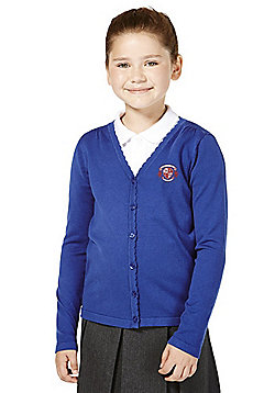 Girls Embroidered Scallop Edge Cotton School Cardigan with As New Technology - Bright royal blue