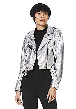 Only Metallic Faux Leather Cropped Biker Jacket - Silver