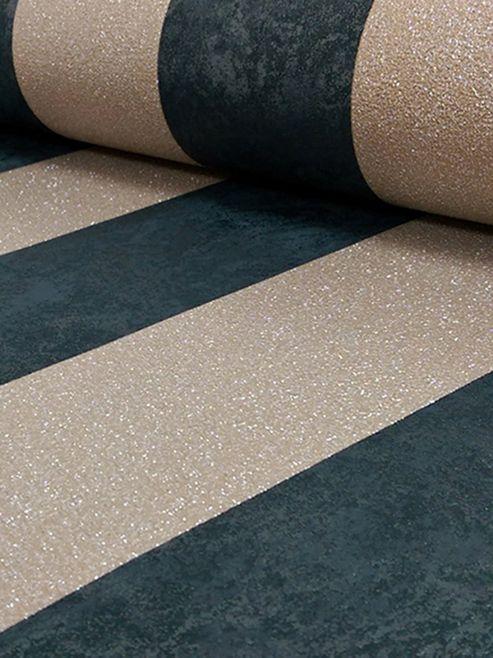Carat Glitter Stripe Wallpaper Black and Gold P+S 13346-90