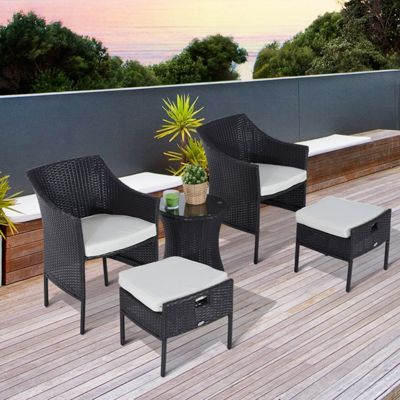 Outsunny 5 Pcs Rattan Coffee Set Patio Garden Footrest Armchair Side Table - Brown