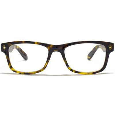 Glare Eyewear Tortoiseshell Reading Glasses featuring a Gold Star on either side of Frame and 2 Stars on each temple arm