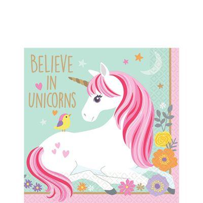 Magical Unicorn Paper Beverage Napkins - 25cm