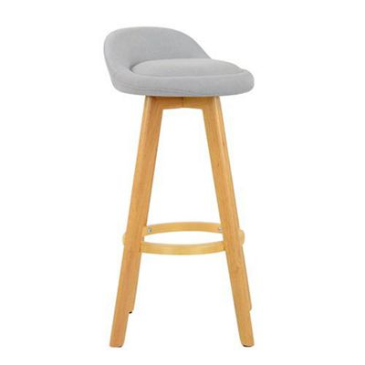 Athena Wooden Fixed Height Light Grey Fabric Bar Stool