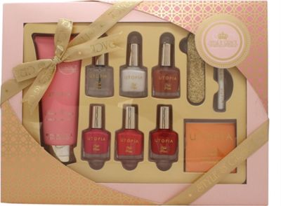 Style & Grace Utopia Perfect Mani-Care Gift Set 100ml Hand Cream + 5 x 8ml Nail Polish + Nail White Pencil + Nail File + Nail Transfers