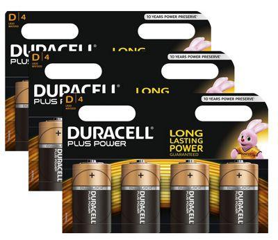 12 x Duracell D Size Plus Power MN1300 LR20 Alkaline Batteries