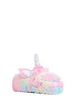 F&F Rainbow Unicorn Faux Fur Slippers - Multi