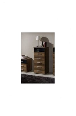 Amos Mann furniture Milano Narrow Chest of Drawer - Black and Walnut