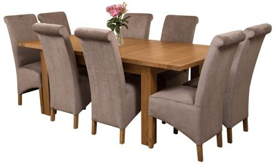 Seattle Extending Kitchen Solid Oak Dining Set Table + 8 Grey Fabric Chairs