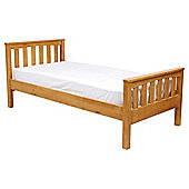 Harvey Single Wooden Bed Frame, Natural Pine/Oak Stain