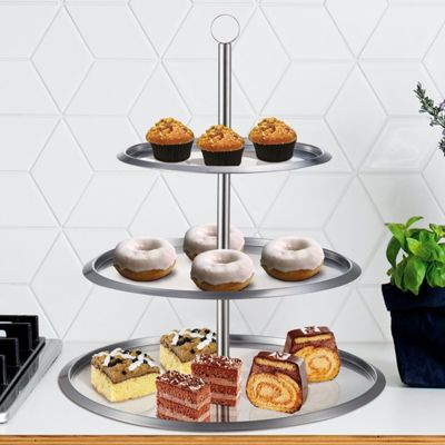 Taylor & Brown Stainless Steel 3 Tier Round Cake Stand To Display Cakes / Cupcakes / Biscuits / Muffins - Party Wedding