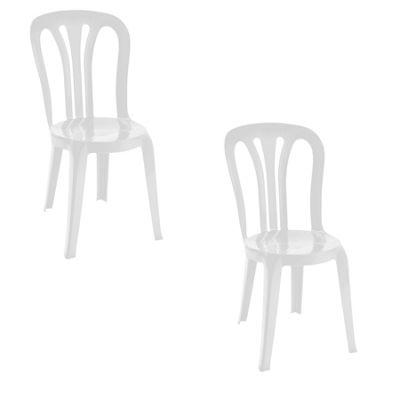 Resol Garrotxa Plastic Home Garden Outdoor Dining Chair - White - Pack of 2