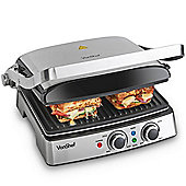 VonShef 4 Slice Dual Temperature Grill/Griddle/Grilled Sandwich & Panini Maker