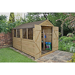 Forest Garden 10x8 Overlap Pressure Treated Double Door Apex Shed Installed