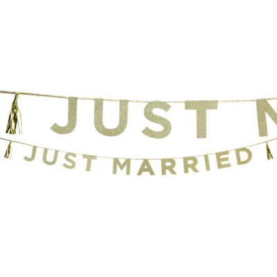 14d598da941 Buy Just Married Gold Glitter Letter Banner - 3m from our All Party ...