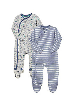 F&F 2 Pack of Striped and Tiger Print Sleepsuits - Multi