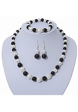 Black/ White Glass Pearl Bead Necklace, Flex Bracelet & Drop Earrings Set With Diamante Rings - 38cm Length/ 6cm Extension