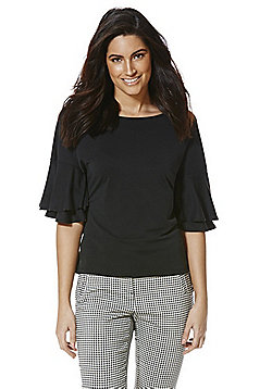 F&F Double Frill Modal Rich Half Sleeve Top - Black