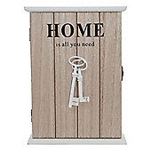 'Home is all you need' Quote Wooden Shabby Chic Key Holder Cabinet