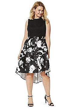 Lovedrobe Splatter Print Fit and Flare Dress - Black