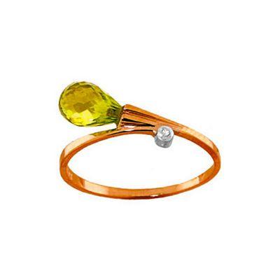 QP Jewellers Diamond & Peridot Raindrop Ring in 14K Rose Gold - Size E 1/2