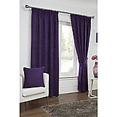 Hamilton McBride Faux Suede Pencil Pleat Curtains - Plum