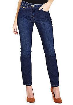 Wallis Petite Harper Straight Leg Jeans - Mid wash