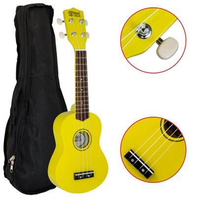 Mad About Left Handed Yellow Soprano Ukulele for Beginners with Bag