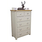 Aspen Painted Sage Grey Oak Chest Of Drawers / Oak 2 Over 4 Chest
