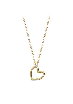 Ladies 9ct Yellow Gold Love Heart 1mm Gauge Charm Necklace, 16, 17 and 18 inch