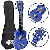 Mad About Left Handed Blue Soprano Ukulele for Beginners with Bag