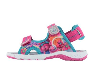 Girls Trolls Pink Sports Beach Sandals Hook & Loop UK Size 7