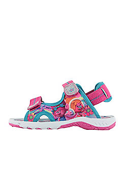 Girls Trolls Pink Sports Beach Sandals Hook & Loop UK Size 6 - 12 - Pink