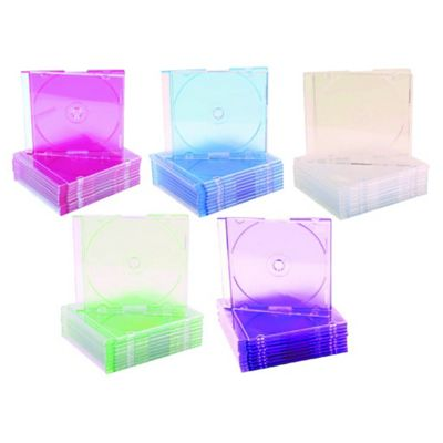 CD DVD Multi-Coloured Slim Jewel Case Plastic Box 10 Pack