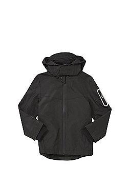 F&F Reflective Trim Hooded Mac - Black