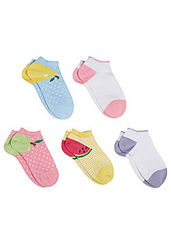 F&F 5 Pair Pack of Fruit Trainer Liners - Multi