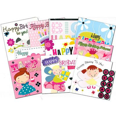 The Entertainer 10 Birthday Cards Pink Pack with Envelopes and Stickers
