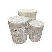 Set of 3 White Round Split Willow Wicker Laundry Baskets in 3 Sizes