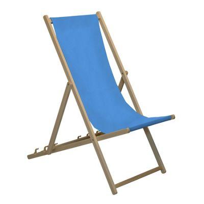 Harbour Housewares Traditional Adjustable Wooden Beach Garden Deck Chair - Light Blue
