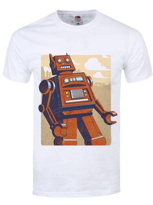 Orange Retro Robot White Men's T-shirt