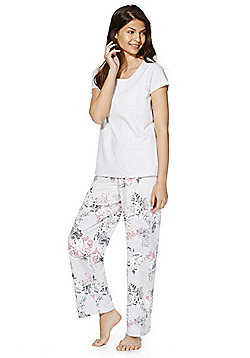 F&F Floral Jersey Pyjamas - Grey