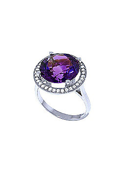 QP Jewellers Diamond & Amethyst Ring in 14K White Gold