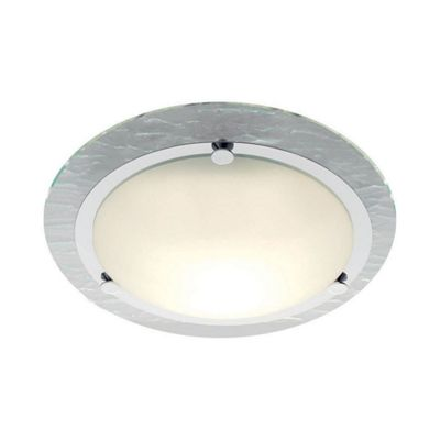 BATHROOM IP44 - 1 LIGHT - STONE GLASS/CHROME BANDED FLUSH FITTING