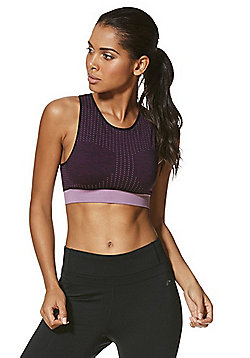 F&F Active Seamfree Long Line Crop Top - Plum