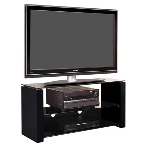 Bench Piano Black and Smoked Glass Stand for TVs up to 50 inch